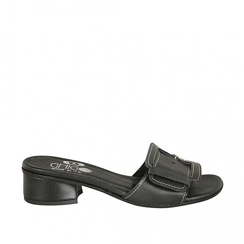 Zapato mule para mujer con hebilla en piel negra tacon 3 - Tallas disponibles:  34, 42, 43, 45