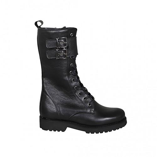 Bottes combat pour femmes avec lacets, boucles et fermeture éclair en cuir noir talon 3 - Pointures disponibles:  32, 43