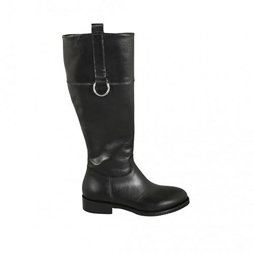 Bottes pour femmes en cuir de couleur noir avec fermeture éclair interieur et accessoire talon 3 - Pointures disponibles:  34, 42, 43, 44, 45, 46, 47