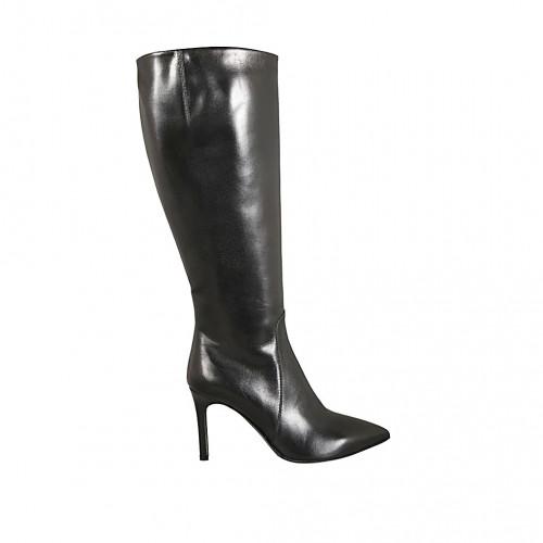 Botas puntiagudas para mujer en piel negra con cremallera tacon 8 - Tallas disponibles:  32, 33, 34, 42, 43, 45