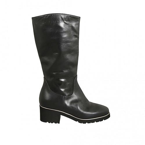 Botas para mujer en piel de color negro con cremallera tacon 5 - Tallas disponibles:  31, 32, 33, 34, 42, 43, 44