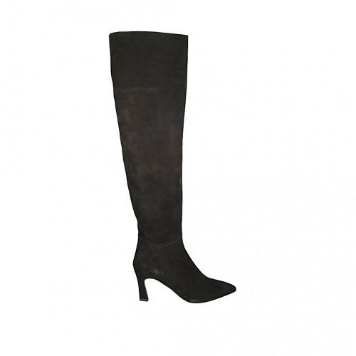 Botas a punta y a la rodilla para mujer en gamuza negra con media cremallera tacon 7 - Tallas disponibles:  33, 34, 42, 43, 44, 45, 46