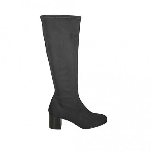 Botas para mujer en tejido elastico negro tacon 6 - Tallas disponibles:  31, 32, 33, 34, 42, 43, 45, 46, 47
