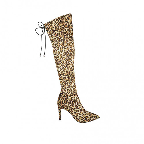 Botas para mujer con cordon y media cremallera en gamuza imprimida moteada tacon 8 - Tallas disponibles:  33, 34, 42, 43, 45