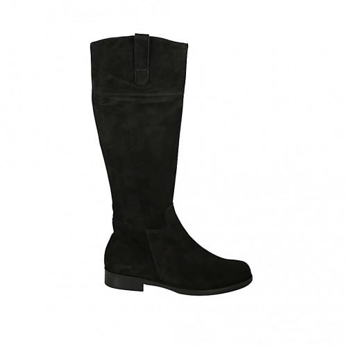 Bota para mujer en gamuza negra con cremallera tacon 3 - Tallas disponibles:  33, 34, 42, 43, 44, 45