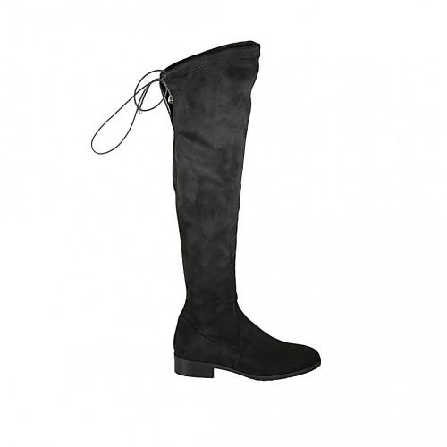 Bottes au genou pour femmes en daim elastique avec lacets et demi fermeture éclair talon 3 - Pointures disponibles:  33, 34, 42, 43, 44